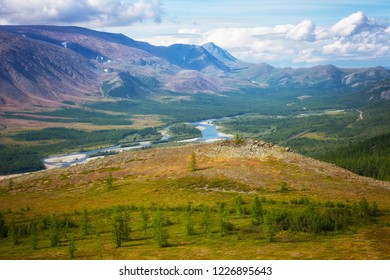 View of the Rai-Iz mountain and the Sob River in the Polar Urals on a sunny summer day, Yamal, Russia
