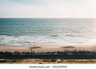 View of railroad tracks and the beach in San Clemente, Orange County, California