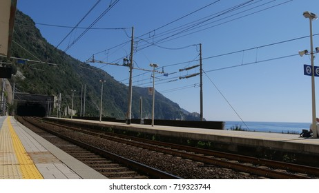 a view of the railway at the station of Manarola, Liguria, Italy.