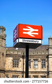 View of the Railway Station with the Station sign in the foreground, Shrewsbury, Shropshire, England, UK, Western Europe.