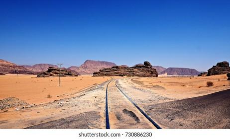 View of railway in Wadi Rum, Jordan on sunny day.