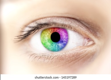View of rainbow colours in a woman eye, make up concept