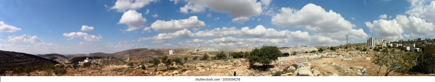 View of Ramallah, Palestine mountains.