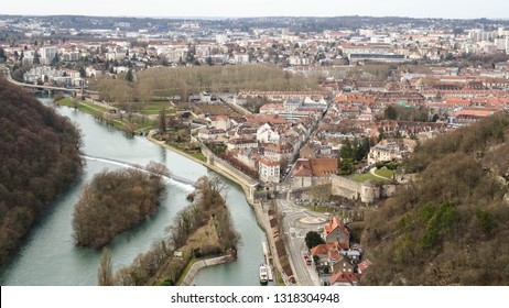 view from ramparts of Citadel of Besançon, fortress on hill in french city of Besançon built by famous architect Vauban, popular attraction for tourist visiting Franche-Comte region, France, Europe
