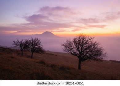 View from Rana hill.Misty morning in Central Bohemian Highlands, Czech Republic. Central Bohemian Uplands  is a mountain range located in northern Bohemia. The range is about 80 km long
