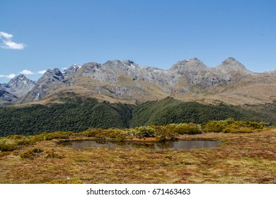 view of ranges from key Sumit. Fiordland National park