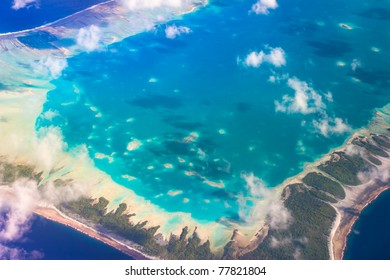 View of Rangiroa Atoll, Tuamotu,French Polynesia