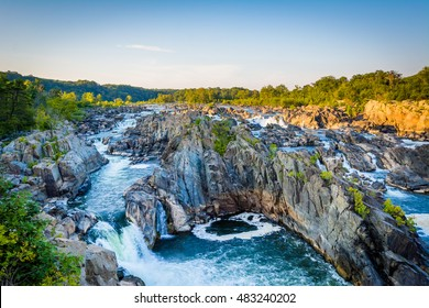 View of rapids in the Potomac River at sunset, at Great Falls Park, Virginia.