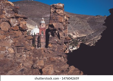 View of Real de Catorce Mexican Ghost Town, details of stone on the background Purisima Concepcion Temple, a parish church containing a reputedly miraculous image of St. Francis