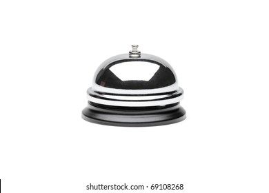 A view of a reception bell isolated on white background