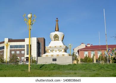 View of the Reconciliation mortar. O.I. Gorodovikov Square. Elista, Kalmykia