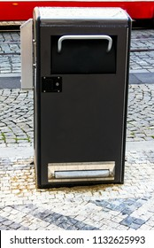 A view of recycling bin in the street of a modern European city