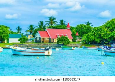 View of Red church at Cap Malheureux, Mauritius Island