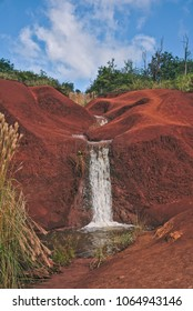 A view of Red Dirt Waterfall in Kauai, Hawaii