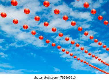 View of red lanterns with chinese words, good weather, prosperous country, and peaceful people and blue sky sun moon lake nantou county taiwan
