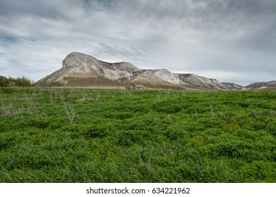 View of the Red mountain, or the Mare's head, chalk mountains in the Don River valley.
