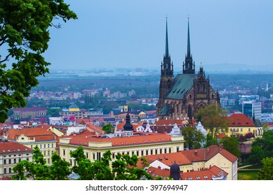 View to the red roofs of  Brno city with cathedral, Czech Republic