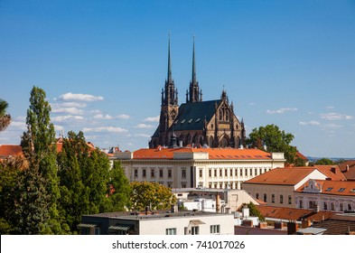 View to the red roofs of Brno city with Cathedral of Saints Peter and Paul. Morawia, Czech Republic, Europe.