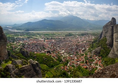 View of the red roofs of the Kalambaka town from the Meteora rocks, Greece
