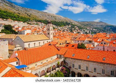 View of red tiled roofs of Dubrovnik old town, Croatia