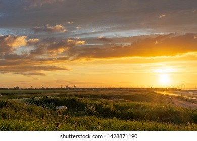 View of Redcar from Marske at sunset. An amazing view of the north east coast of England.