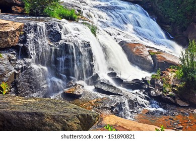 A view of the Reedy River Falls in the West End Park of the city of Greenville, South Carolina.