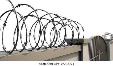 A view of a regular domestic wall with plaster capping and razor wire security on an isolated background