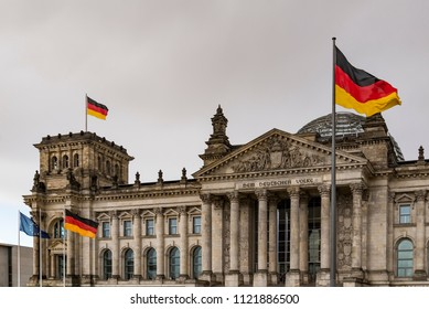 view of the Reichstag facade in Berlin, Germany