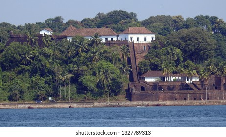 View Reis Magos Fort from Miramar Beach.  Reis Magos Fort is located on the northern bank of the Mandovi River in Bardez, Goa, India