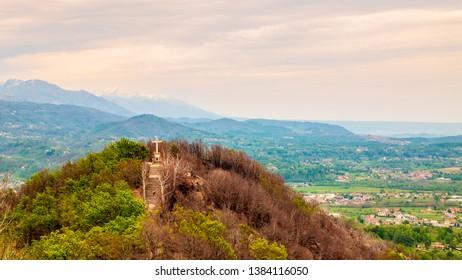 View of a religious cross, is located in Sacro Monte di Belmonte's complex, Cuorgnè, Italy