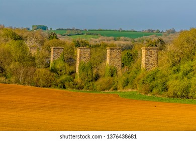 A view of the remains of the railway viaduct at Hook Norton, Oxfordshire, UK
