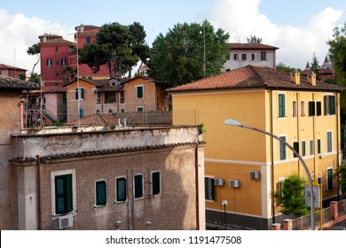 View of residentail apartment buildings in the suburb of Garbatella, Rome , Italy