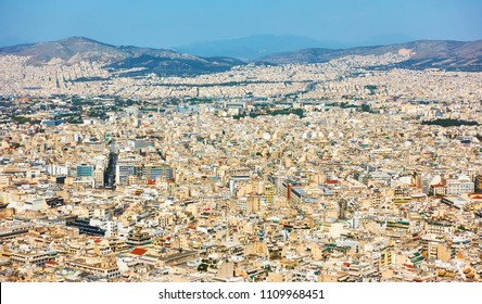 View of residental areas of Athens city from Mount Lycabettus, Greece
