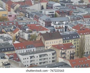 View of residential apartment buildings in Berlin, Germany
