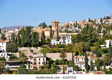 View of a residential area in the city of Granada, Spain