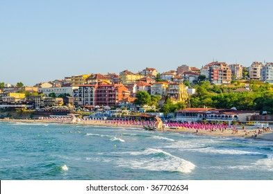 view of a residential area stretching around the shores of sozopol city in bulgaria is popular summer destination for tourists from whole europe.