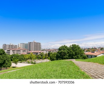 View of residential area in Tokyo suburb, Japan under the blue sky
