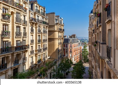 View of residential buildings on Montmartre in Paris, France.