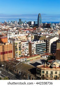 view of  residential  district of Barcelona. Catalonia, Spain