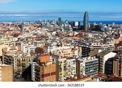 view to residential  district of Barcelona.  Spain