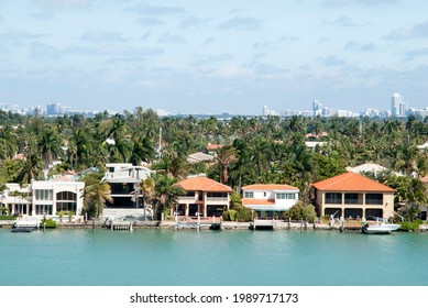 The view of residential Palm Island and Miami Beach skyline in a background (Florida).