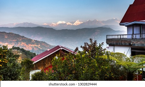 View from Resort balcony of Mountain Kanchenjunga of Himalayan Range, the third highest mountain in the world at the time of Sunrise.