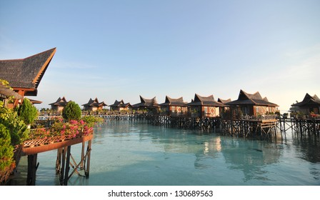 A view of resort of Mabul in the middle of sea celebes ocean