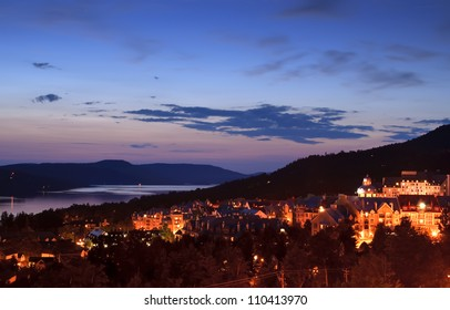 View of the resort village of Mont Tremblant at dusk
