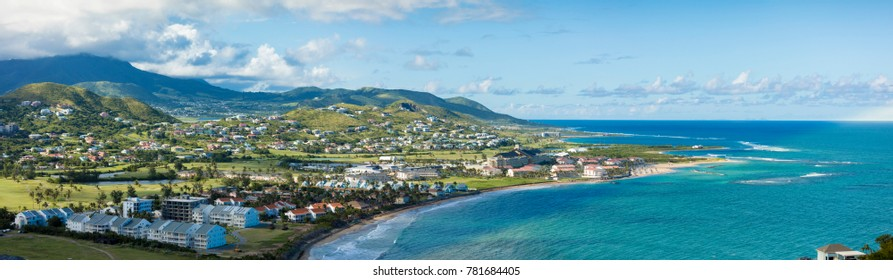 View of resorts, golf courses, and ocean on the south end of St Kitts.