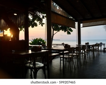 View from restaurant by the sea at twilight time