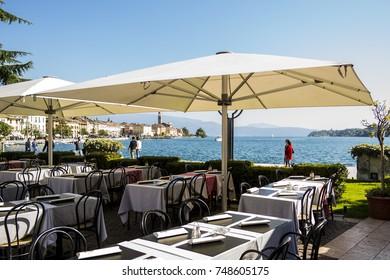 View of a restaurant on Lake Garda in Salo. October 8, 2017 Salo, Brescia - Italy