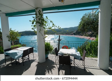 View from restaurant on Valtos beach in Parga