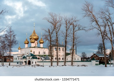 The view of the Resurrection Cathedral from the Volga river in the ancient town of Uglich, Yaroslavl region, Russia