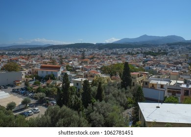 View of Rethymno from medieval fortress, Crete, Greece
